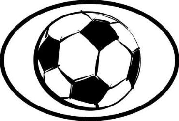 Soccer Ball Oval Decal White With Black Print