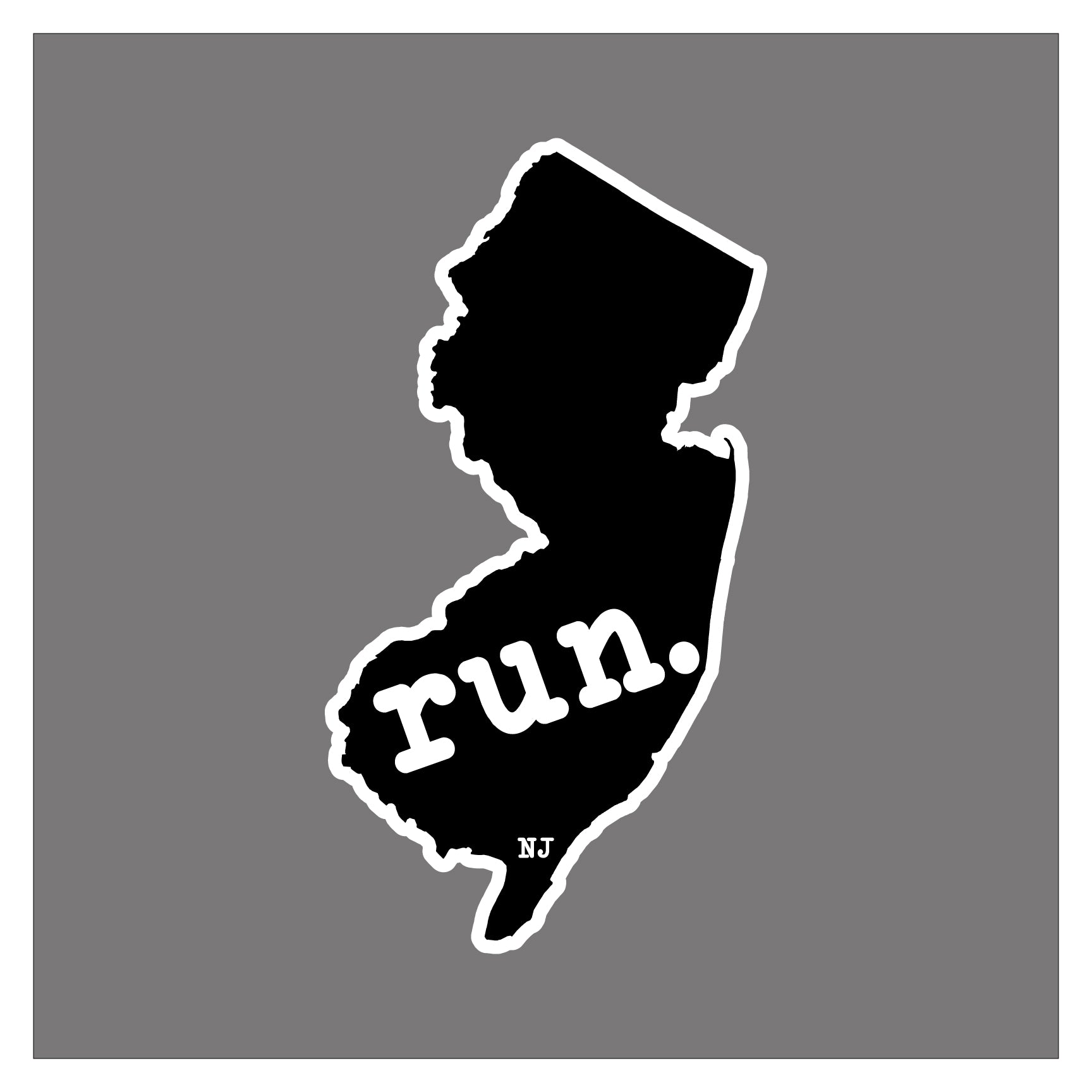 Run New Jersey State Outline Magnet (Black)