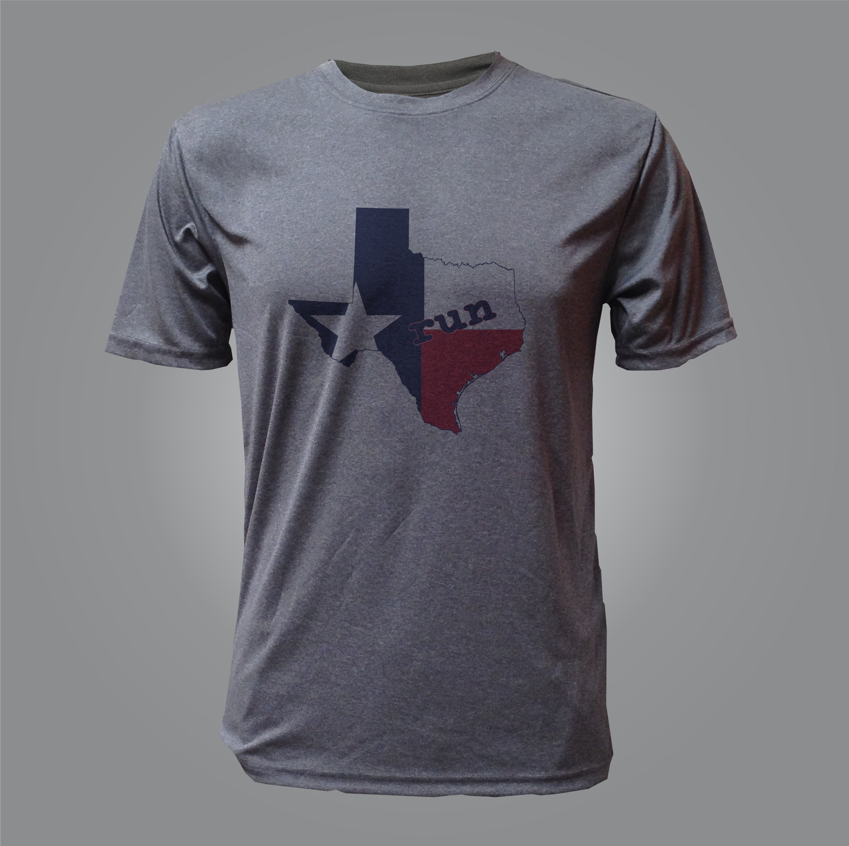 Texas Run State Flag Men S Tech Shirt Heather Black Baysix