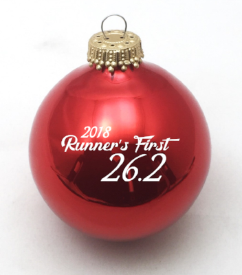 Runner's First 26.2 Marathon 2018 Christmas Ornament (Red) - BaySix