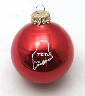 Maine Run State Outline Christmas Ornament (Red) - Ornaments Tagged