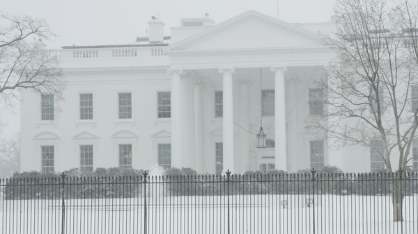 Free 4K Stock Video: White House during Winter Blizzard