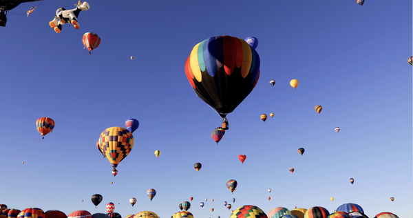 Free 4K Transportation Stock Video: Hot Air Balloons Floating Away