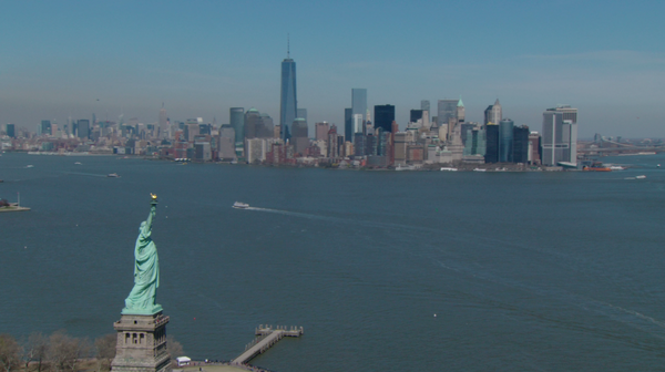 Free 4K Aerial Stock Video: Statue of Liberty and NYC Skyline