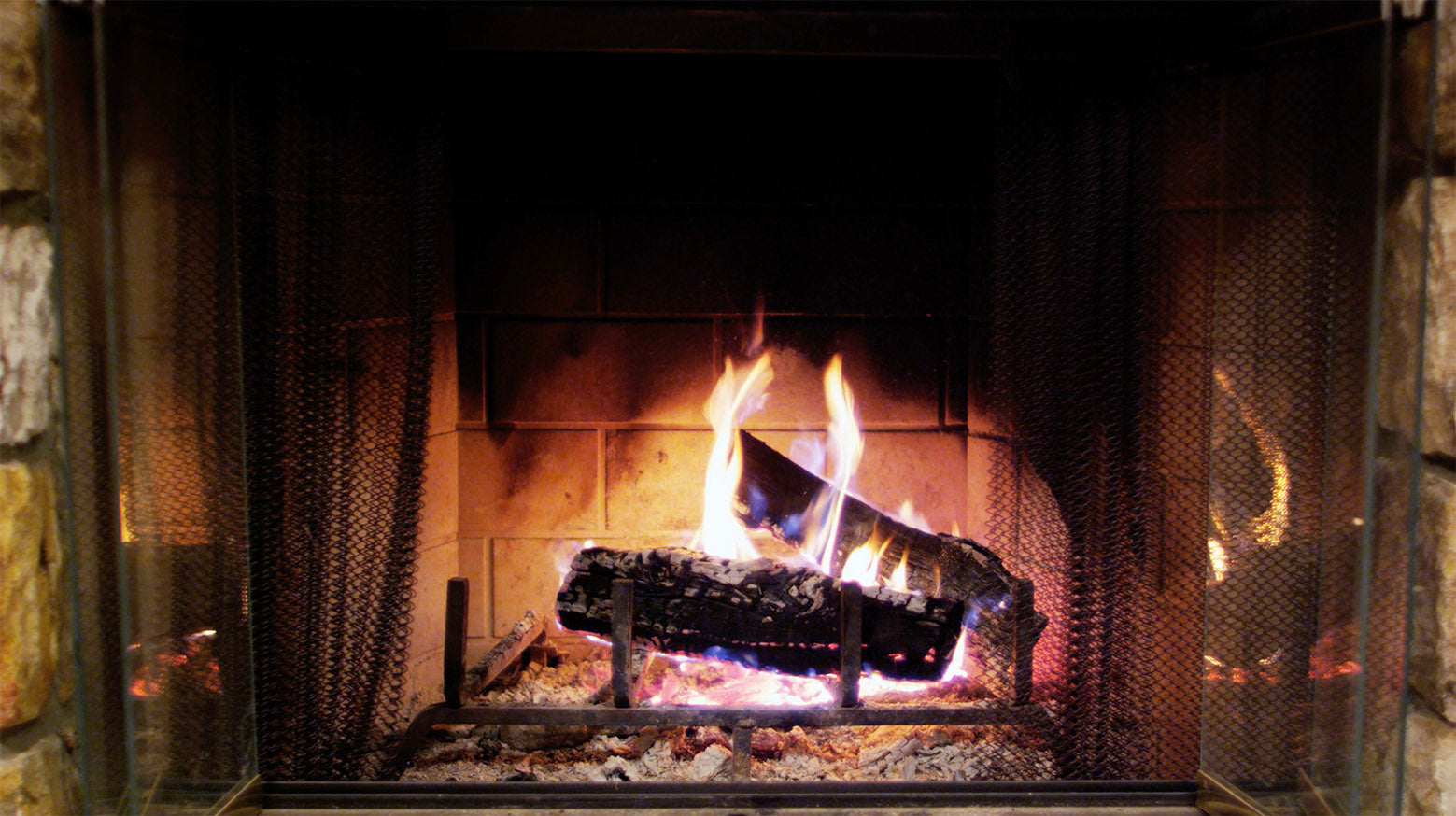 Free 4K stock video of a fire in fireplace