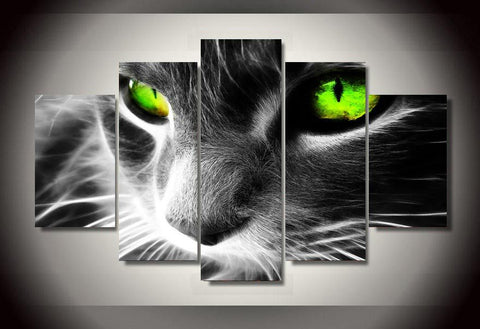 5 Piece HD Printed Black Cat Green Eyes Wall Art Picture Home Decoration Painting Art Modular Picture(Unframed) wall art canvas - All-unique-things