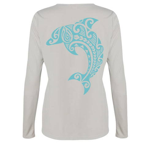 Women's Leaping Dolphin L/S Performance Tee in Sport Silver - Hook Tribe