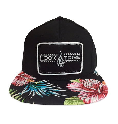 Hawaiian Floral Flat Brim Hat - Hook Tribe
