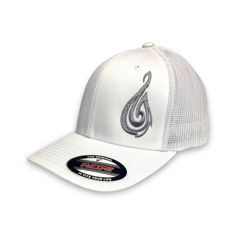 Hook Tribe Flex Fit Hat White - Hook Tribe