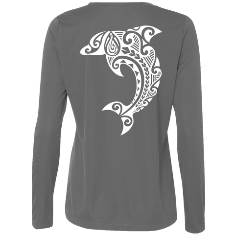 Women's Leaping Dolphin L/S Performance Tee - Hook Tribe