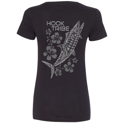 Women's Kingfish & Flowers V-Neck Tee - Hook Tribe