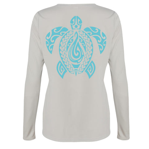 Women's Honu L/S Performance Tee in Sport Silver - Hook Tribe