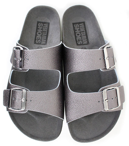 Vegetarian Shoes Two Strap Sandals Pewter