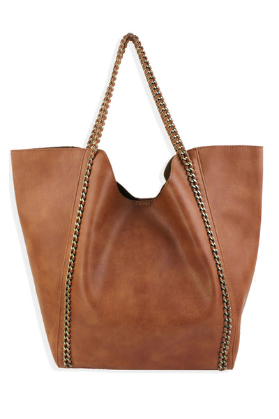 Street Level North-South Chain Tote Brown