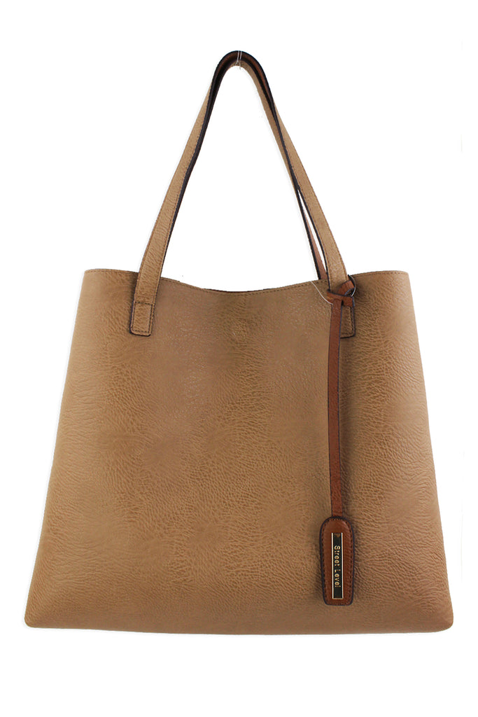 Street Level Vegan Tote Bag Brown/Tan