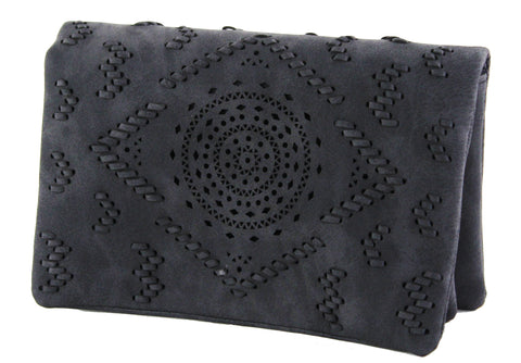 Street Level Laser Cut Clutch Charcoal
