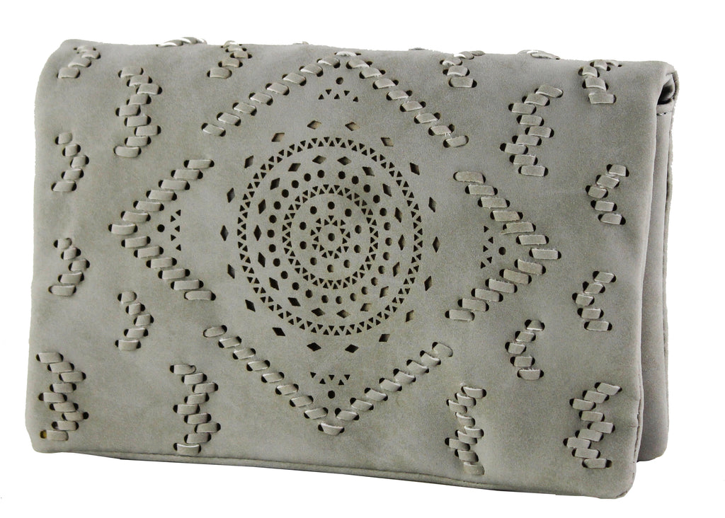 Street Level Laser Cut Clutch Grey