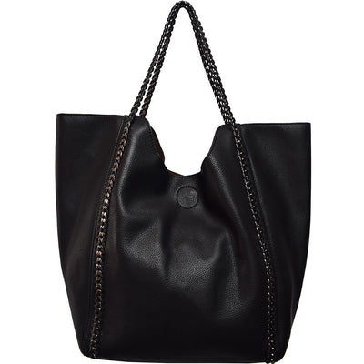 Street Level North-South Chain Tote Black