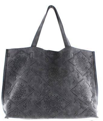 Street Level Vegan Perforated Tote Bag Black
