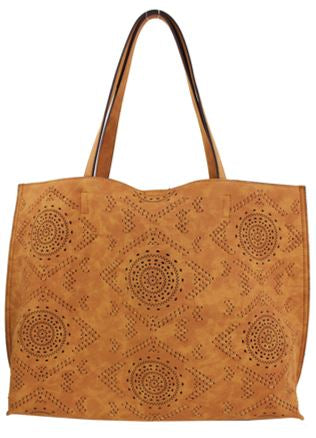 Street Level Vegan Perforated Tote Bag Brown