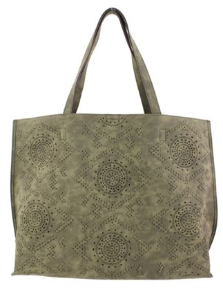 Street Level Vegan Perforated Tote Bag Olive