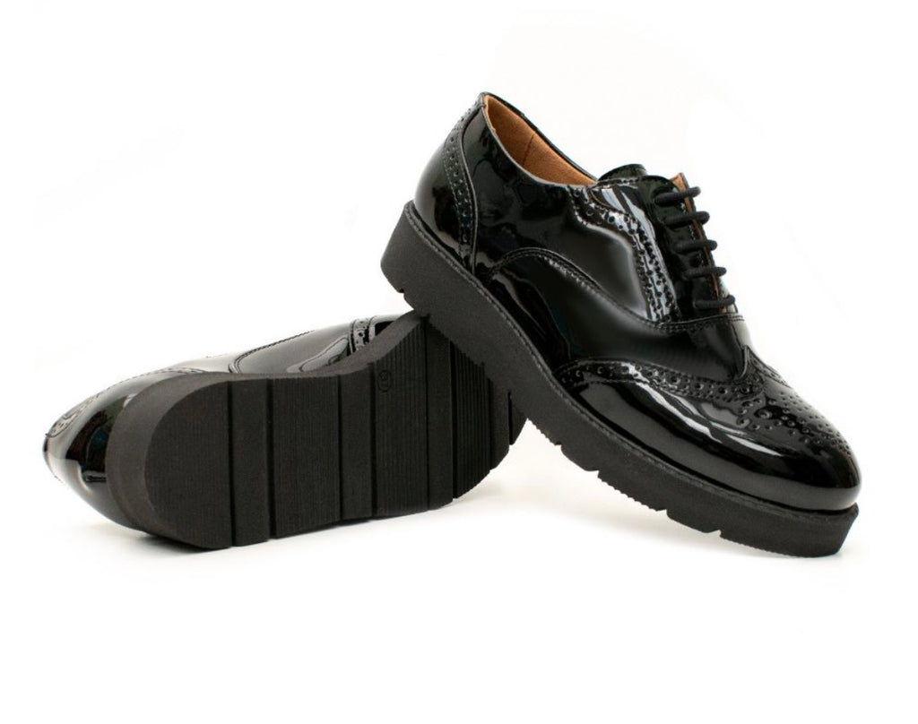 Will's Vegan Flatform Brogues Patent Black