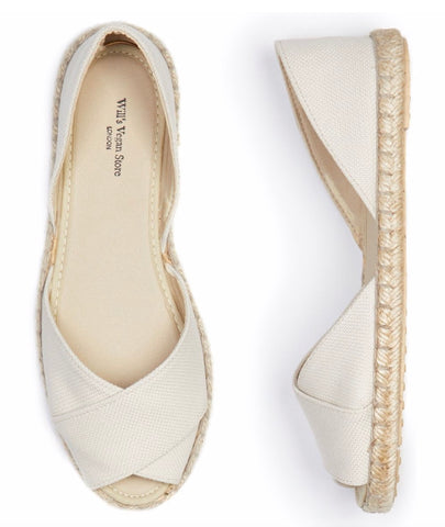 Will's Vegan Recycled Espadrilles Cross Over Straps Beige