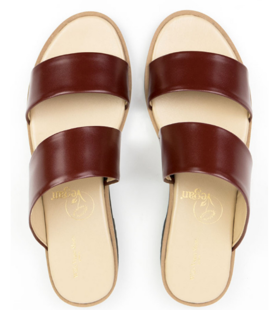 Will's Vegan Shoes Two Strap Sandals Brown