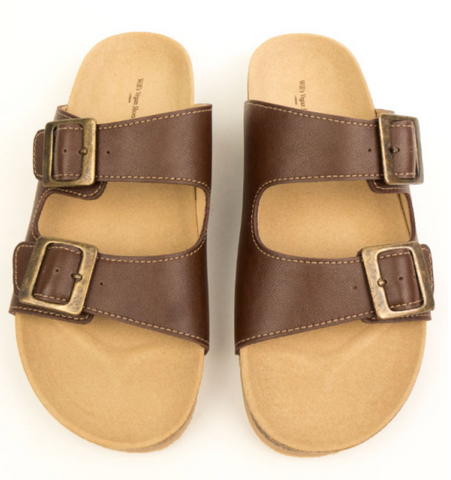 Will's Vegan Shoes Two Strap Footbed Sandals Chestnut