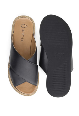 Ahimsa Vegan Mia Slide Black