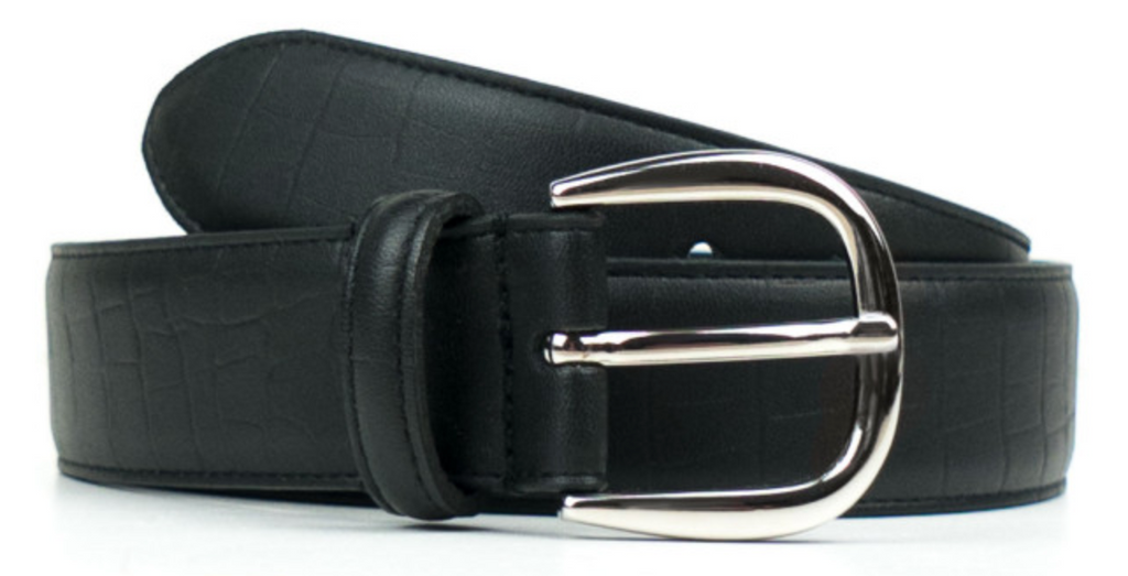 Will's Vegan Tooled Black Vegan Leather D-Ring 3cm Belt