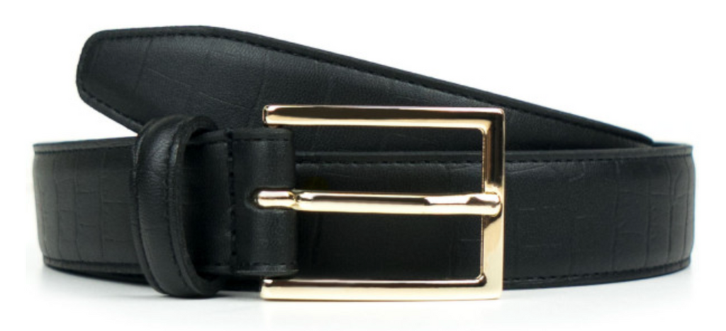 Will's Vegan Tooled Black Vegan Leather Luxe 3cm Mens Belt