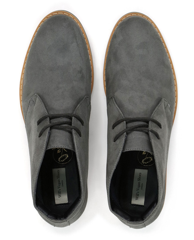 Will's Vegan Signature Desert Boots Grey Vegan Suede