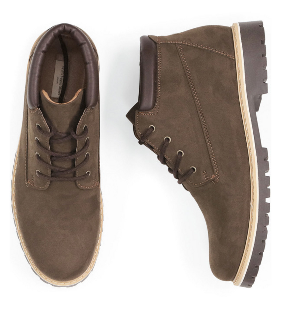 Will's Vegan Shoes Low Dock Boots Dark Brown Vegan Suede