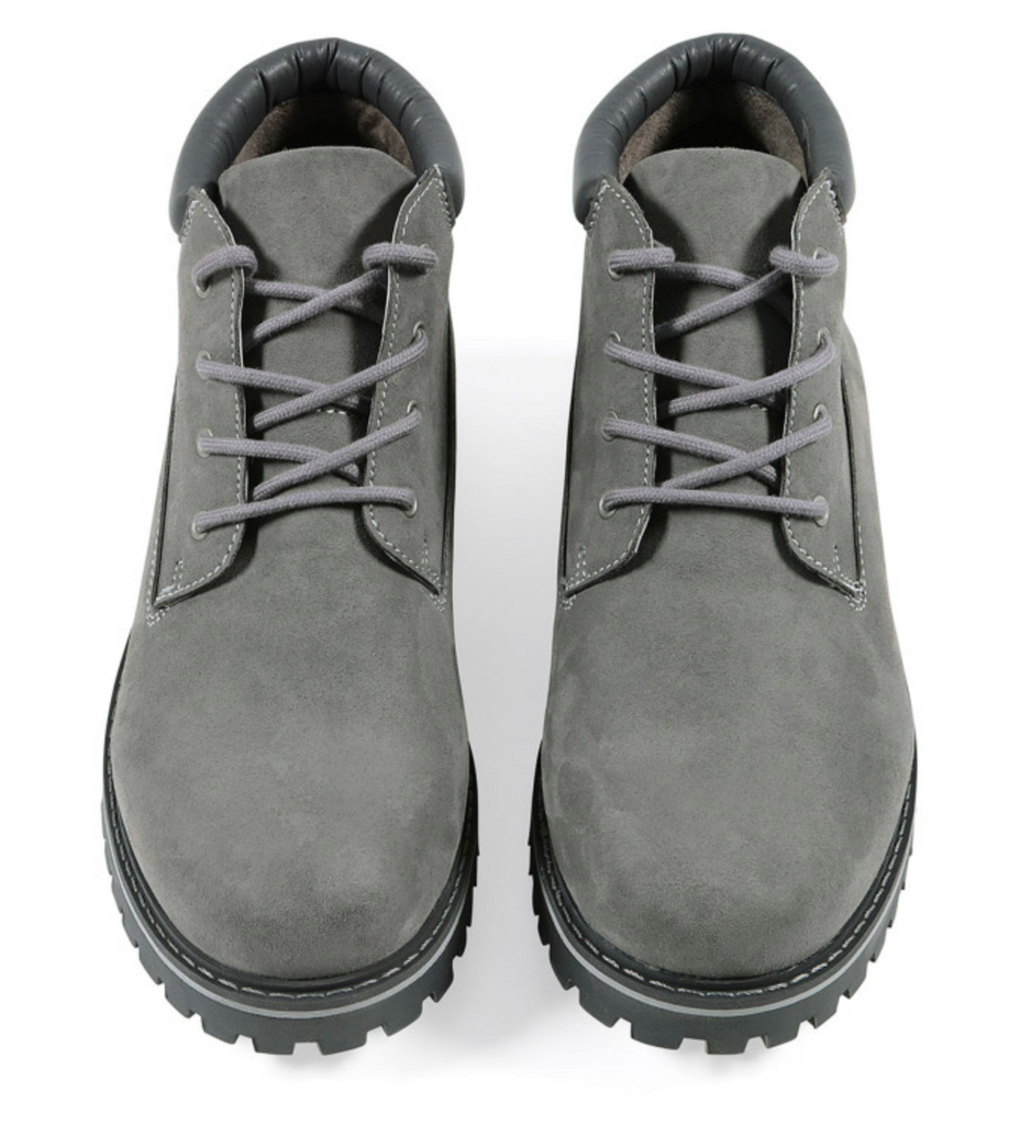 Will's Vegan Shoes Low Dock Boots Grey Vegan Suede