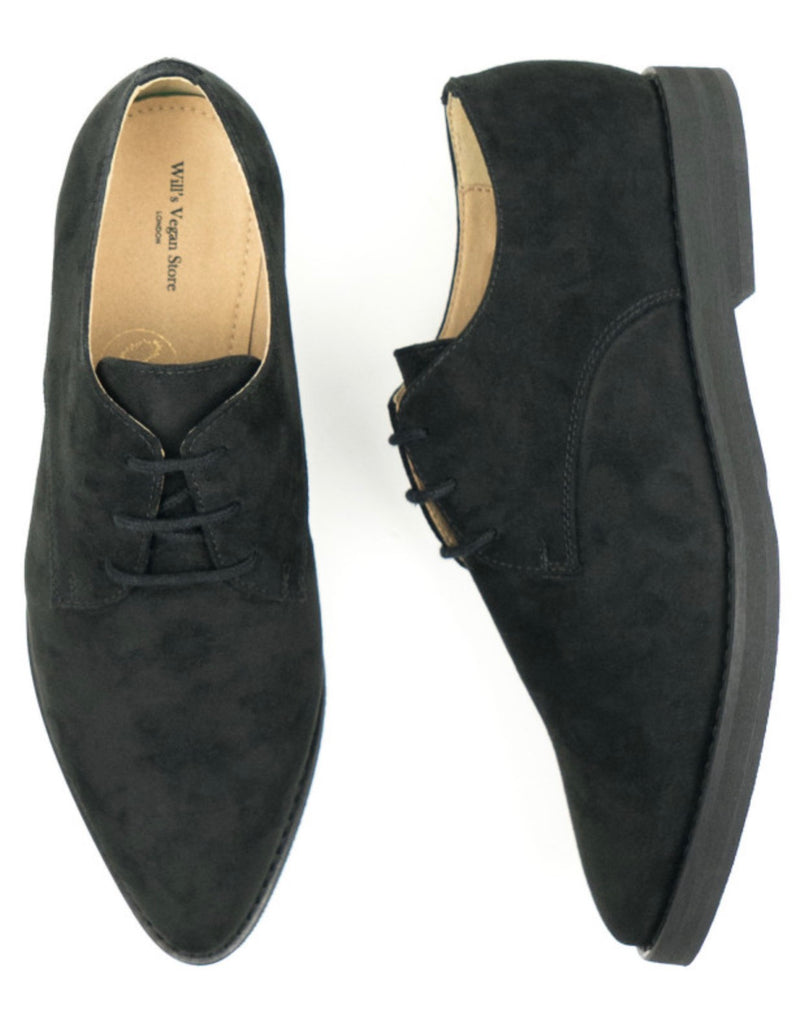 Will's Vegan Point Toe Derbys Black Vegan Suede