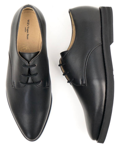 Will's Vegan Point Toe Derbys Black