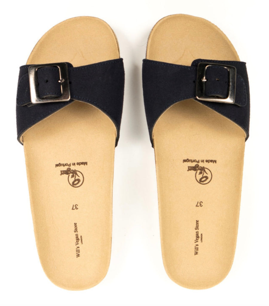 Will's Vegan Single Strap Footbed Sandals Dark Blue