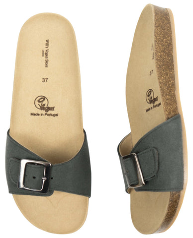 Will's Vegan Single Strap Footbed Sandals Green
