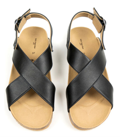 Will's Vegan Huarache Footbed Sandals Black