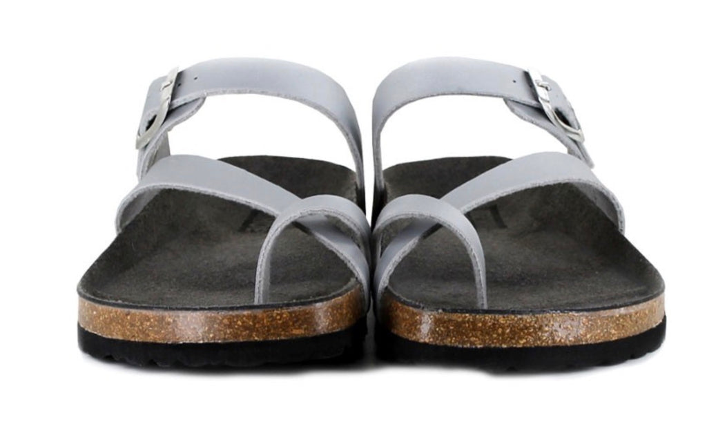 Vegetarian Shoes Toe Strap Sandals Silver