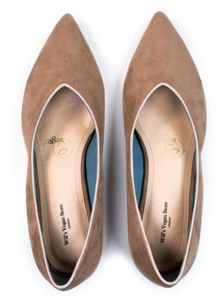 Will's Vegan Shoes Point Flats Stone