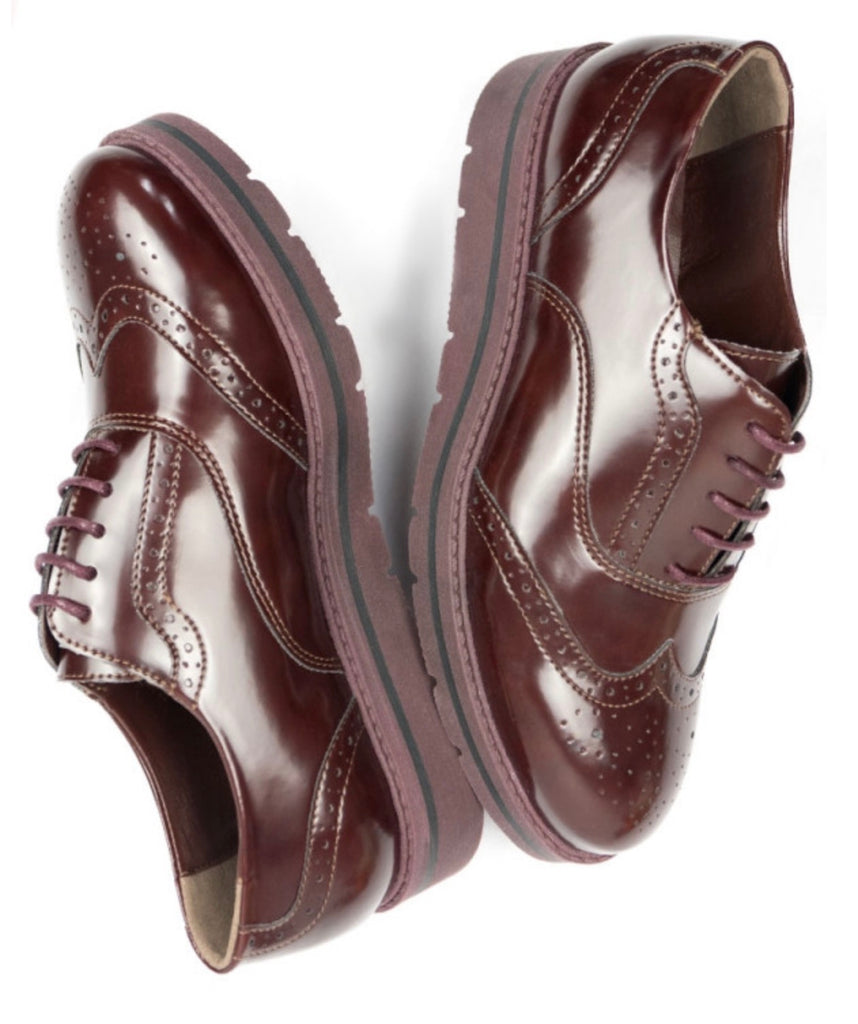 Will's Vegan Flatform Brogues Wine