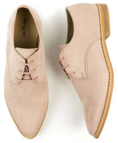 Will's Vegan Point Toe Derbys Pink Vegan Suede