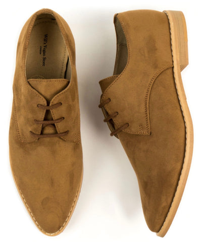Will's Vegan Point Toe Derbys Brown Vegan Suede