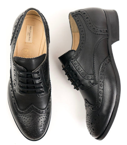 Will's Vegan Shoes City Wingtip Brogue Oxfords Black