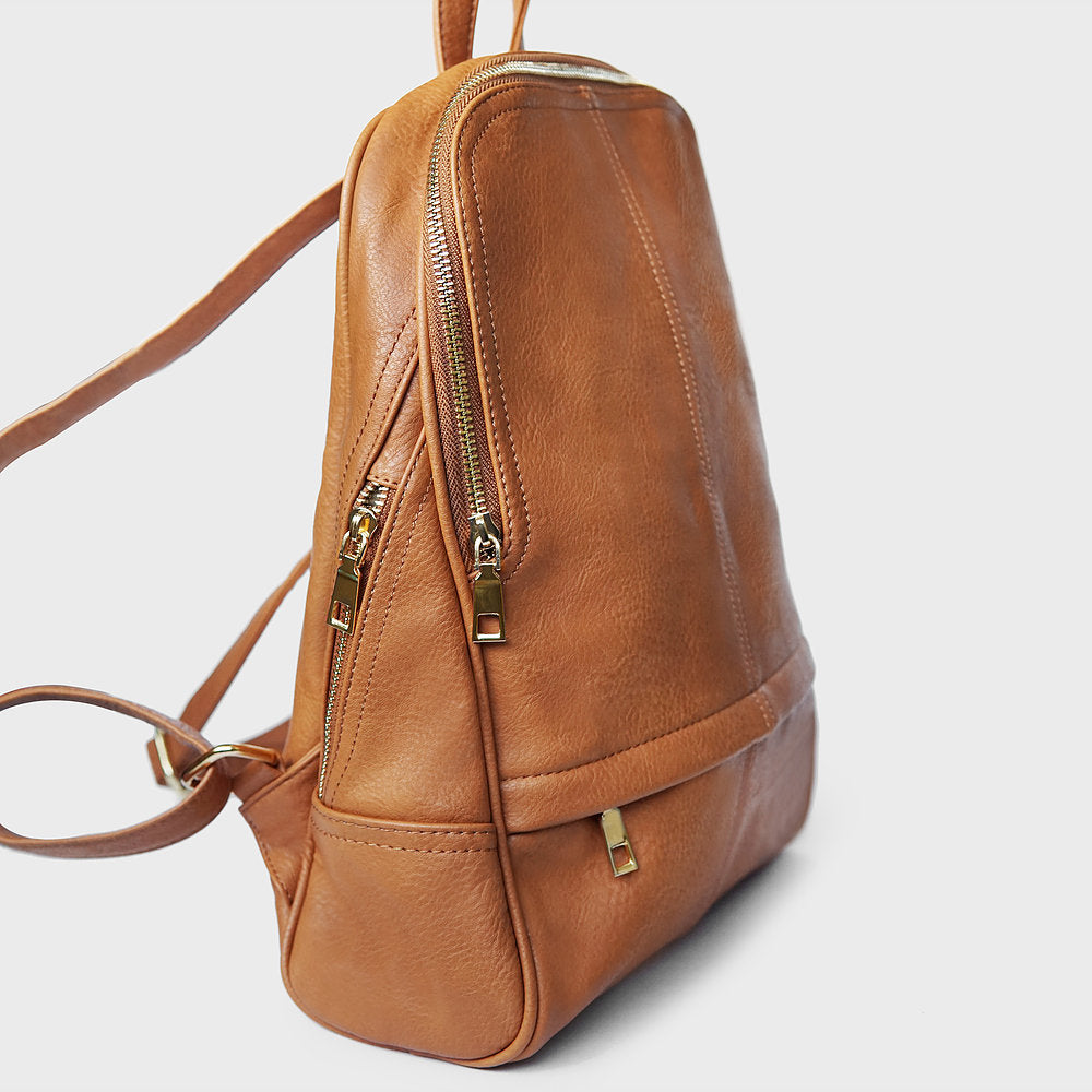 The Lovely Things UK Zip Detail Backpack Camel