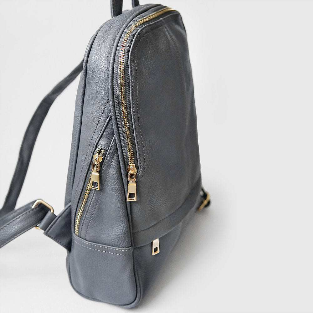 The Lovely Things UK Zip Detail Backpack Grey