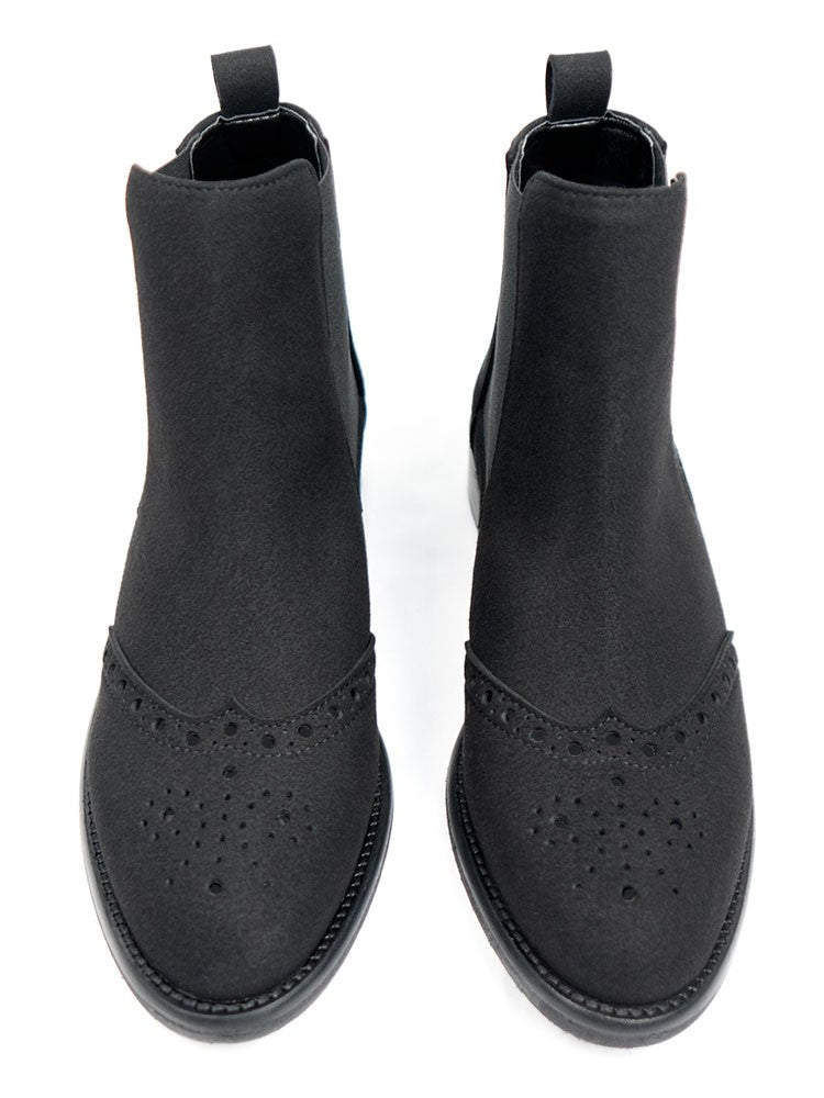 Will's Vegan Brogue Booties Black