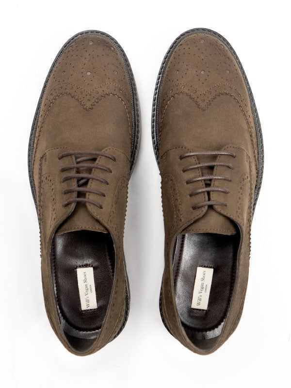 Will's Vegan Shoes Continental Brogues Brown Faux Suede